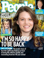 "Jaycee Dugard is pictured on the cover of People Magazine in this image released Wednesday by the magazine. Dugard was 11 when police say she was abducted outside her South Lake Tahoe home in 1991. Now 29, she was rescued in August. Dugard decided to release photos to People magazine as a way to ""share her joy with the world"" and show how well she's doing."