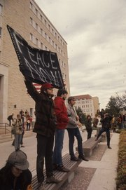 Students in protest of the Vietnam War march down Jayhawk Boulevard on Oct. 15, 1969.