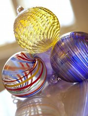 Art glass by Bob Gent, Lawrence, will be among items for sale at the Holiday Art Fair on Saturday.