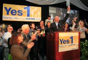 Frank Schubert, campaign director for Stand for Marriage Maine, claims victory for Yes on 1 on Tuesday evening in Portland, Maine.
