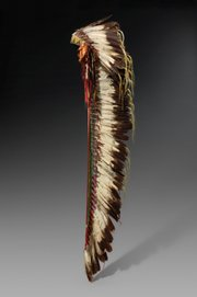 Eagle feather headdress from the Northern Cheyenne tribe in Montana, made around 1875.