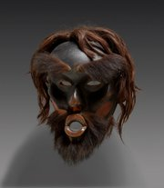 "A depiction of Dzunukwa, or ""wild woman of the woods,"" a mask from British Columbia made around 1870."