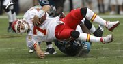 Chiefs quarterback Matt Cassel, top, is sacked by Jacksonville defensive end Julius Williams. The Jags won, 24-21, Sunday in Jacksonville, Fla.