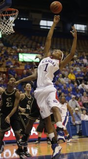 Kansas forward Aishah Sutherland skies for a rebound against Emporia State Nov. 8, 2009 in Lawrence.