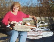 Rural Tonganoxie resident Karen Parrett recycles plastic bags by crocheting them together to make larger bags that can be used again and again, just as canvas bags are used to hold groceries and other items.