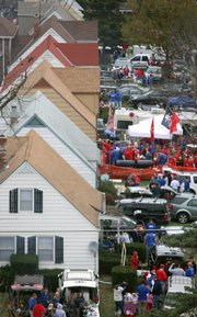 Tailgaters and football fans fill front yards in the neighborhoods surrounding Memorial Stadium Saturday, Nov. 14, 2009 before the KU-NU game.