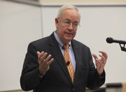 Ken Starr, whose investigation as independent counsel led to the impeachment of President Bill Clinton, visited the Kansas University School of Law on Thursday. Starr said Americans should be thankful for the U.S. Constitution and the rights and liberties it provides.