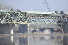 At 10:30 a.m. Thursday a second explosion took down the old westbound bridge structure on the Kansas Turnpike.