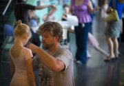 """David Sturm pins an audition number on Sophie Bracker Sturm, 6, Lawrence, before the auditions for """"A Kansas Nutcracker"""" Sept. 20 at the Lawrence Arts Center, 940 N.H. Auditions can be a difficult but learning experience for children."""