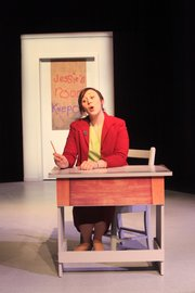 "Marilyn Haines plays Ms. Holly, a teacher, during a rehearsal for the play ""Distracted."""