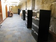 Filing cabinets await placement in new underground office wing for legislators in Statehouse. The state has been hit hard by budget cuts but the $285 million Statehouse renovation continues.