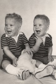 Bill and Bob Fleming, pictured in 1963, are identical twins and still experience the occasional case of mistaken identity — even by Bob's 15-year-old daughter.