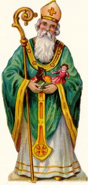 A German cutout illustrating St. Nicholas in bishop clothing.