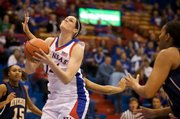 KU center Krysten Boogaard attempts a shot against UC Riverside.