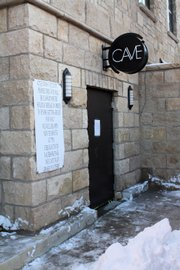 The outside signage for The Cave betrays little of the size of the club.