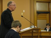 Bishop Michael Jackels of the Catholic Diocese of Wichita on Tuesday testifies in favor of legislation to repeal the death penalty. He said a life sentence without the possibility of parole can guarantee public safety. Bills to abolish the death penalty are being considered in the Senate Judiciary Committee.