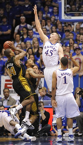 Kansas center Cole Aldrich goes up for a block on Missouri's Kim English Monday, Jan. 25, 2010 at Allen Fieldhouse.
