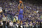 Kansas forward Marcus Morris pulls up for a three-pointer in front of the Bramlage Coliseum crowd during the first half Saturday, Jan. 30, 2010 at Bramlage Coliseum.