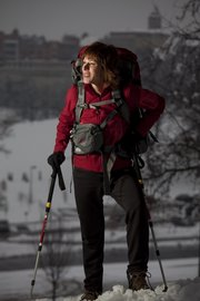 Sandy Brown will soon be climbing Aconcagua in Argentina, the second tallest mountain in the seven continental summits. She has been training by traversing the hill area near the Campanile.