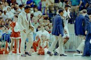 1991: March 23, in Charlotte, N.C., after knocking off No. 2 seed Indiana to advance to the Elite 8, Kansas upends top seed Arkansas (and Nolan Richardson's 40 minutes of hell) to advance to Final Four, where Roy Williams would coach against and defeat Dean Smith and KU would eventually lose to Duke in national title game.