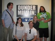 "The BlueCat interns, Alex Backus, Laura Herrington, Travis Bronson, Sarah Tucker and Josh Nathan, visit the set of ""The Office"" in Los Angeles."