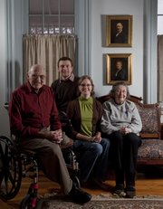 Al Pendleton, left, and his wife, Lorita, right, share a house with their granddaughter Liz Grillot and her husband, Thomas.