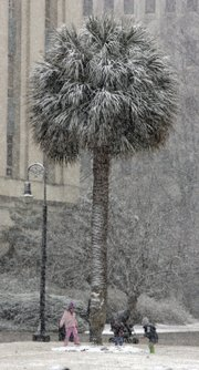 Children play in the snow at the base of a Palmetto tree on the statehouse grounds as Columbia, S.C., gets its first snowfall of the season Friday. More than two-thirds of the nation's land mass had snow on the ground when the day dawned Friday, and then it snowed ever so slightly in Florida to make it 49 states out of 50.