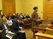 Kansas University Chancellor Bernadette Gray-Little on Monday testifies to the House Education Budget Committee. She asked legislators to refrain from further cuts to higher education. KU has already absorbed $37.3 million in cuts, she said.