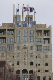 "Vandals painted ""shout"" and ""peace"" on the south side of The Oread's top viewing deck over the weekend."