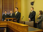 Student government leaders from regents universities held a news conference Tuesday to talk about the effect of budget cuts on higher education. From left to right and their schools are Dalton Henry, Kansas State University; Jonathan Krueger, Emporia State University; Bradley Stramel, Fort Hays State University, Zach Gearhart, Wichita State University, and Andrea Cole, Pittsburg State University. Students from Kansas University participated in lobbying legislators but were not at the news conference.