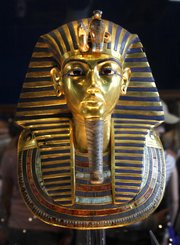 The golden mask of King Tutankhamun is displayed in Cairo.