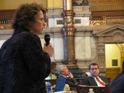 State Sen. Carolyn McGinn, a Republican, argues against the death penalty during debate on the Senate floor on Friday.
