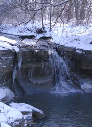 A photo of the waterfall Letha McMillen remembers from her childhood, taken in Feb. 2010.