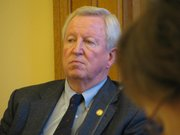 Senate President Steve Morris, R-Hugoton, listens Friday during House-Senate committee meeting on pensions. Morris says that state government and state employees are going to have to pay more into the Kansas Public Employees Retirement System because of funding problems within the system.