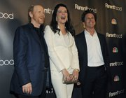 "Lauren Graham, center, a cast member in ""Parenthood,"" poses with executive producers Ron Howard, left, and Brian Grazer at the premiere screening of the television show in Los Angeles."