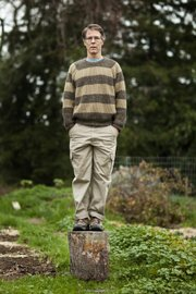 """Kim Stanley Robinson poses near his home in Davis, Calif. His latest novel, """"Galileo's Dream,"""" delves into concepts of alternate futures."""
