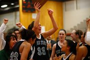 Free State&#39;s Ashli Hill (33) leads her team in celebration while hoisting the 2010 Sub-State trophy on Friday, March 5, 2010, at Shawnee Mission Northwest High School.
