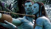"In this file film publicity image from ""Avatar"" released by 20th Century Fox, the character Neytiri, voiced by Zoe Saldana, right, works with the character Jake, voiced by Sam Worthington."