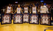 The Kansas seniors Porscha Weddington, Kelly Kohn, LaChelda Jacobs, Sade Morris and Danielle McCray pose for a portrait during senior night following the game against Texas A&M on Saturday, March 6, 2010, at Allen FIeldhouse.