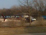 A LifeStar helicopter transported a woman to the hospital Sunday after a hit-and-run accident.