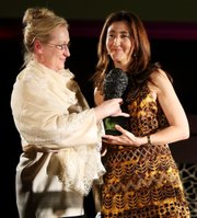 In this photo, Meryl Streep presents an award to Ingrid Betancourt at the DVF Awards on Saturday at U.N. headquarters in New York. Betancourt was running for president of Colombia when she was kidnapped in 2002 by leftist FARC guerrillas.