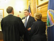 Chris Biggs is sworn in Tuesday as the new Kansas secretary of state.