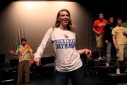 "Mandy Dray rehearses ""Bandstand Boogie"" with classmates for Free State High School's upcoming presentation of ""Encore."""