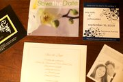 Some save-the-date cards couples use to notify guests of nuptial date plans; save the dates are increasingly popular but do not replace traditional wedding invitations.