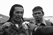 "Russell Means, left, and Dennis Banks, speak to reporters during the 1973 American Indian Movement standoff at the Pine Ridge Reservation in South Dakota. Means hopes to make a film of this historic event called ""Wounded Knee 1973."""