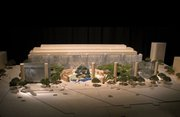 "This artist's rendering provided by the Eisenhower Commission shows a model for the national memorial in Washington for President Dwight D. Eisenhower. The proposal by renowned architect Frank Gehry features a series of 80-foot-tall columns and metal ""tapestries.""  The commission is aiming to finish it by 2015."