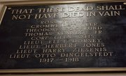 One of two plaques in the auditorium at Central Junior High honors the Lawrence men who died in World War I. Music teacher Kevin Hart has proposed that a piece of music be written about the soldiers.