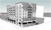 An architectural rendering of a proposed seven-story building, looking from the corner of Ninth and New Hampshire Streets.
