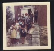 A group stands in front of St. Luke's AME, 647 Maple St., on Easter in 1963.