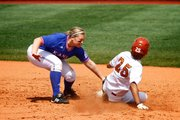 KU shortstop Mariah Montgomery puts a tag down on a Texas baserunner at second base during the game on Saturday, April 3, 2010. The Longhorns beat the Jayhawks 6-2.